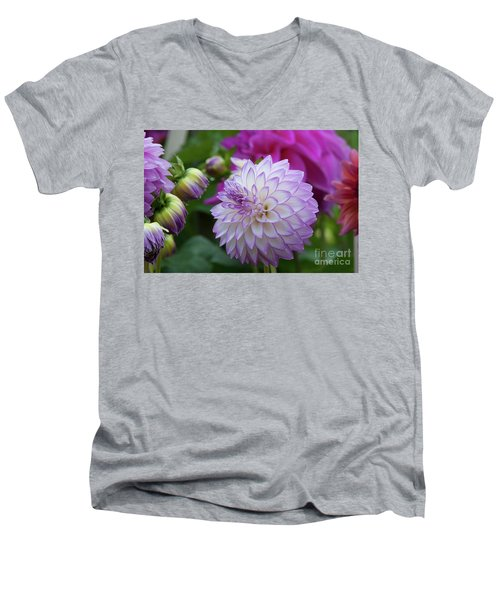 Dahlia Men's V-Neck T-Shirt by Glenn Franco Simmons