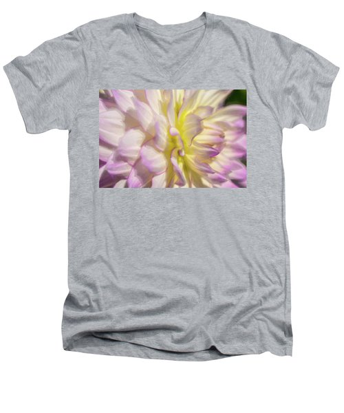 Dahlia Study 5 Painterly  Men's V-Neck T-Shirt