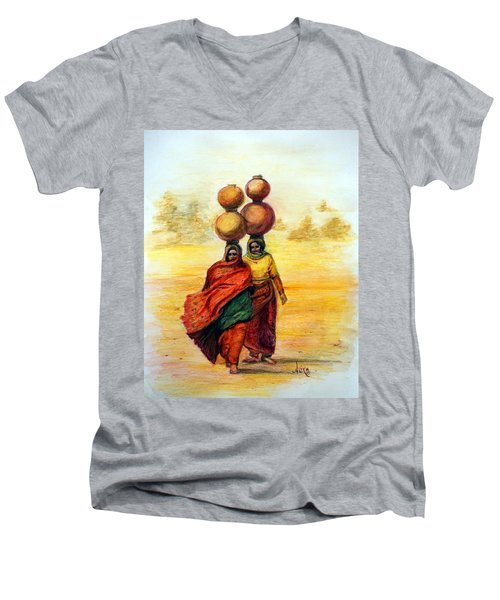 Daily Desert Dance Men's V-Neck T-Shirt by Alika Kumar
