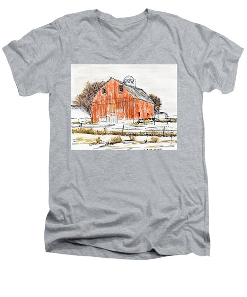 Dairy Barn Men's V-Neck T-Shirt by R Kyllo