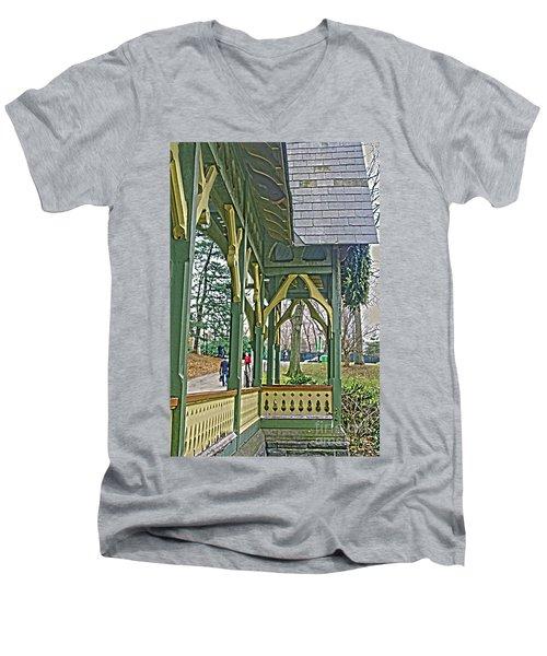 Men's V-Neck T-Shirt featuring the photograph Dairy Cottage Porch by Sandy Moulder