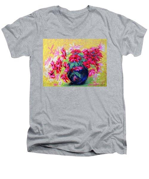 Daisies And Blue Vase Men's V-Neck T-Shirt