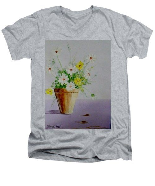 Men's V-Neck T-Shirt featuring the painting Daisies In Pot by Jamie Frier
