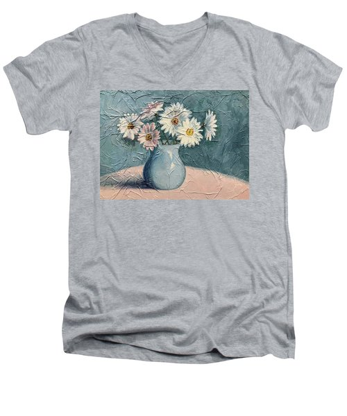 Daisies Men's V-Neck T-Shirt by Janet King