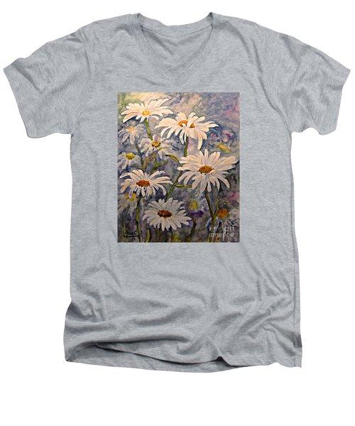 Daisies Watercolor Men's V-Neck T-Shirt by AmaS Art