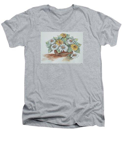 Daisy Craze Men's V-Neck T-Shirt by Sharyn Winters
