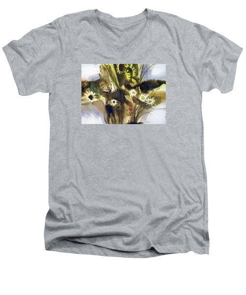 Men's V-Neck T-Shirt featuring the painting Daisies by Ed Heaton