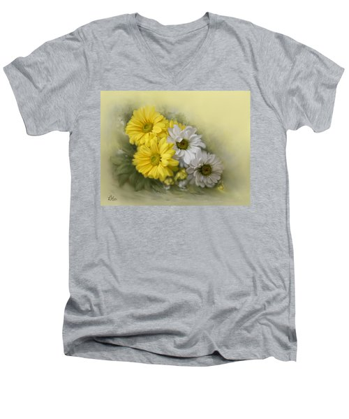 Men's V-Neck T-Shirt featuring the painting Daisy Spring Bouquet by Bonnie Willis