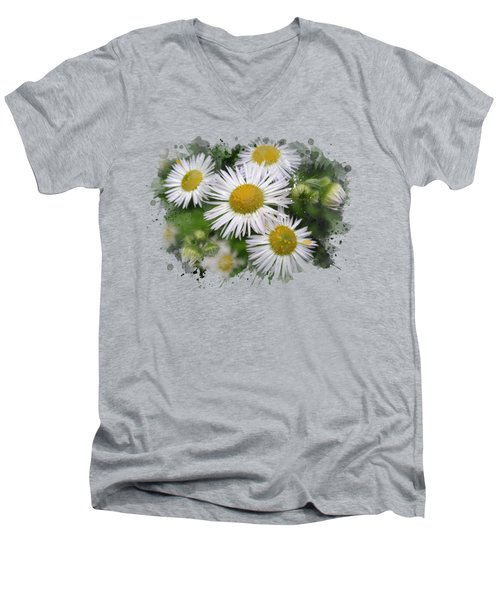 Daisy Watercolor Art Men's V-Neck T-Shirt by Christina Rollo