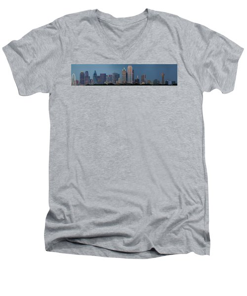 Men's V-Neck T-Shirt featuring the photograph Dallas At Night by Jonathan Davison