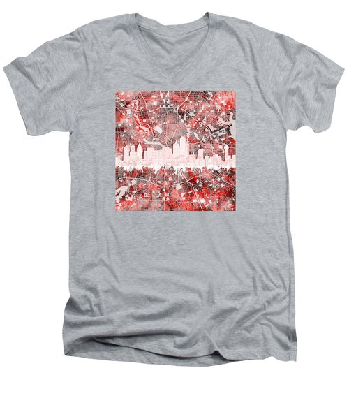 Dallas Skyline Map Red 2 Men's V-Neck T-Shirt