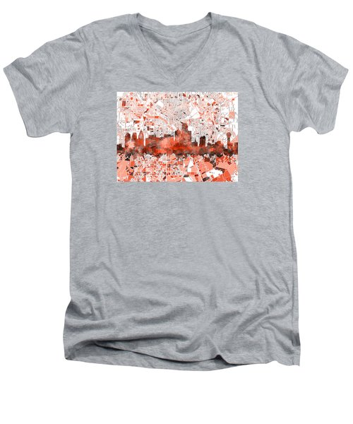 Dallas Skyline Map Red Men's V-Neck T-Shirt