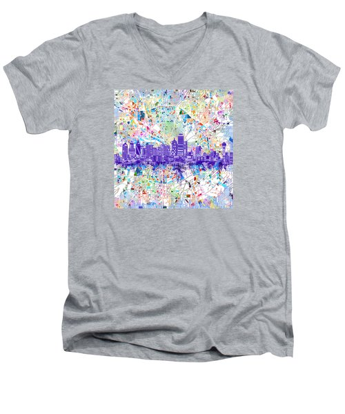 Dallas Skyline Map White 3 Men's V-Neck T-Shirt