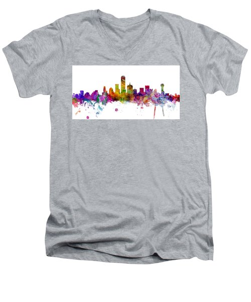 Dallas Texas Skyline Panoramic Men's V-Neck T-Shirt