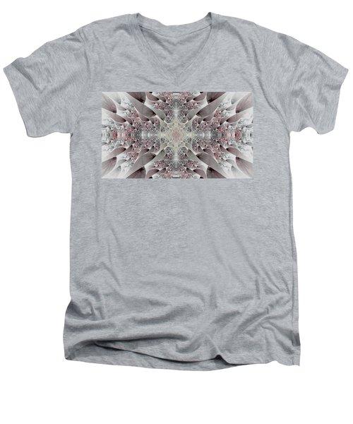 Men's V-Neck T-Shirt featuring the digital art Damask by Lea Wiggins