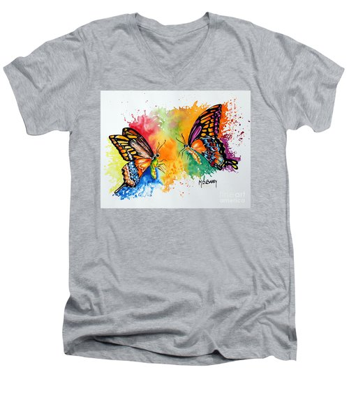 Men's V-Neck T-Shirt featuring the painting Dance Of The Butterflies by Maria Barry