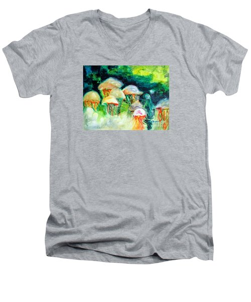 Dance Of The Jellyfish Men's V-Neck T-Shirt by Kathy Braud