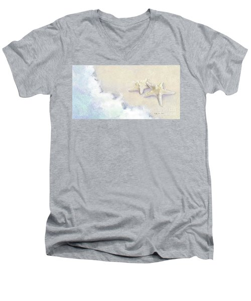 Men's V-Neck T-Shirt featuring the painting Dance Of The Sea - Knobby Starfish Impressionstic by Audrey Jeanne Roberts