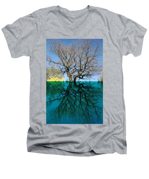 Dancers Tree Reflection  Men's V-Neck T-Shirt