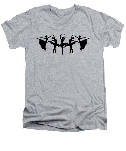Dancing Ballerinas Silhouette Men's V-Neck T-Shirt by Irina Sztukowski