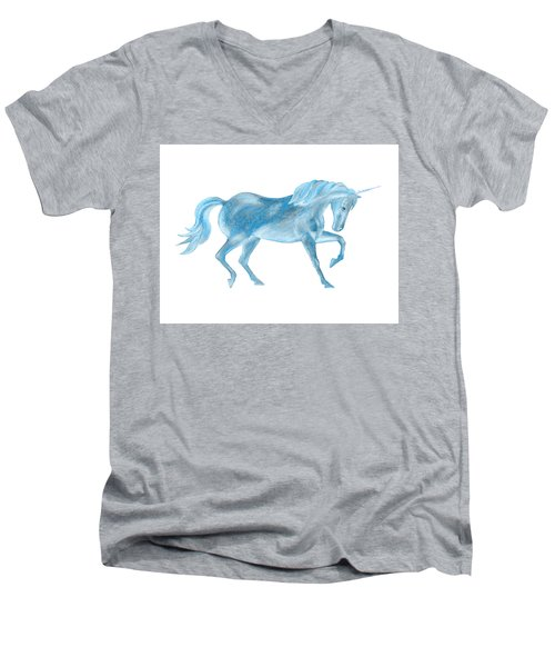 Men's V-Neck T-Shirt featuring the mixed media Dancing Blue Unicorn by Elizabeth Lock
