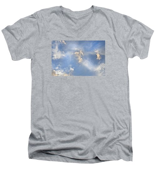 Men's V-Neck T-Shirt featuring the photograph Dancing Clouds by Wanda Krack