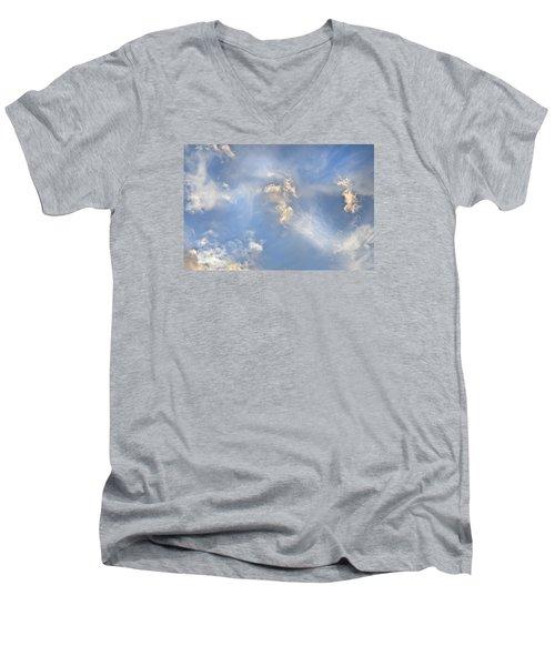 Men's V-Neck T-Shirt featuring the photograph Dancing Clouds by Wanda Krack