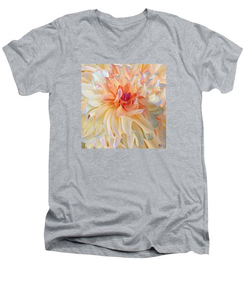 Dancing Dahlia Men's V-Neck T-Shirt by Michele Avanti