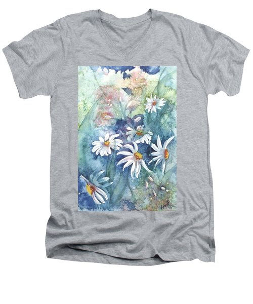 Men's V-Neck T-Shirt featuring the painting Dancing Daisies by Renate Nadi Wesley