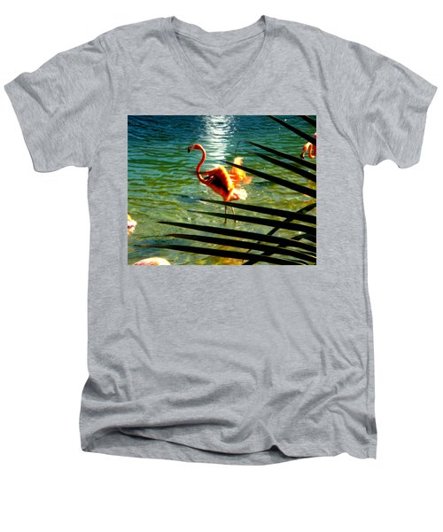 Dancing Flamingo Men's V-Neck T-Shirt by Yolanda Rodriguez