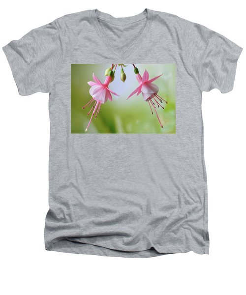 Men's V-Neck T-Shirt featuring the photograph Dancing Fuchsia by Terence Davis