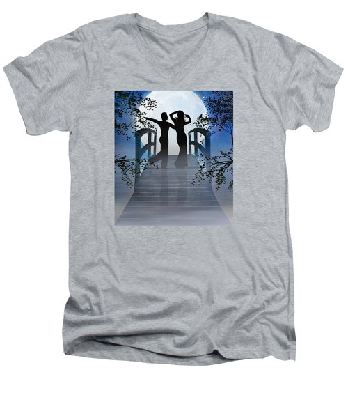 Dancing In The Moonlight Men's V-Neck T-Shirt by Nina Bradica