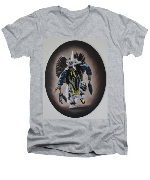 Men's V-Neck T-Shirt featuring the painting Dancing In The Spirit by Michael  TMAD Finney