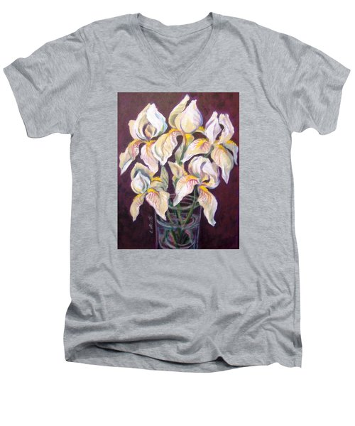Men's V-Neck T-Shirt featuring the painting Dancing Iris by Laura Aceto