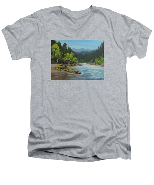 Men's V-Neck T-Shirt featuring the painting Dancing River by Karen Ilari