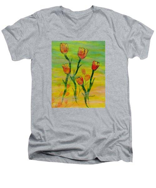 Dancing Tulips Men's V-Neck T-Shirt