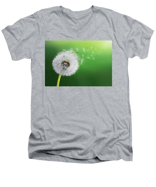 Men's V-Neck T-Shirt featuring the photograph Dandelion Seed by Bess Hamiti