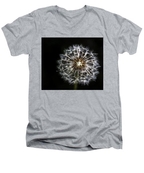 Men's V-Neck T-Shirt featuring the photograph Dandelion Seed by Darcy Michaelchuk