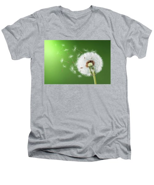 Men's V-Neck T-Shirt featuring the photograph Dandelion Seeds by Bess Hamiti