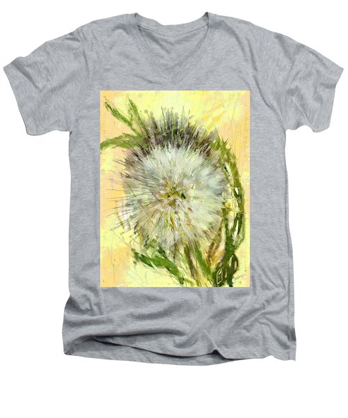 Men's V-Neck T-Shirt featuring the drawing Dandelion Sunshower by Desline Vitto