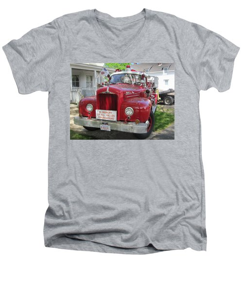 Danvers - Old Fire Engine Men's V-Neck T-Shirt by Paul Meinerth
