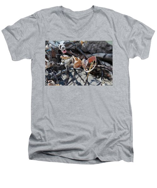 Men's V-Neck T-Shirt featuring the photograph Dare To Touch by Michiale Schneider