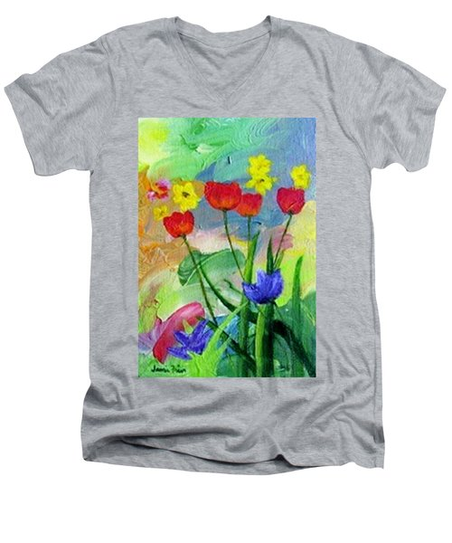 Men's V-Neck T-Shirt featuring the painting Daria's Flowers by Jamie Frier