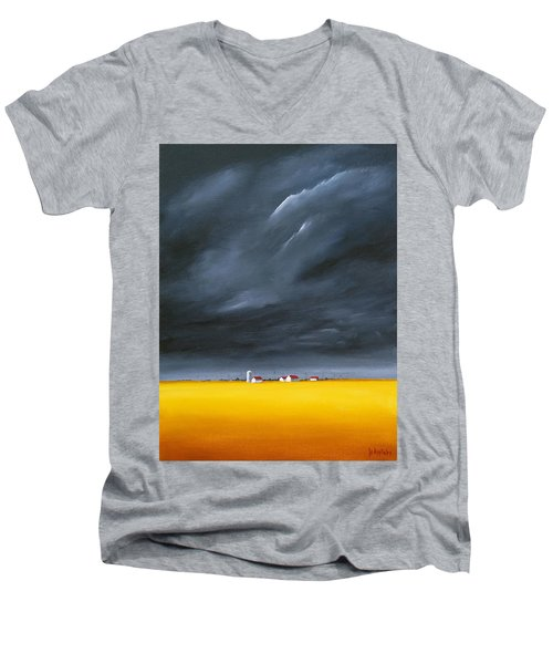 Men's V-Neck T-Shirt featuring the painting Dark And Stormy by Jo Appleby
