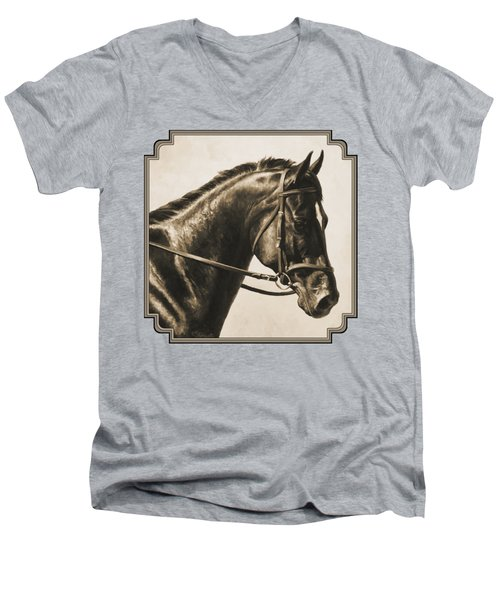 Dark Bay Dressage Horse Aged Photo Fx Men's V-Neck T-Shirt