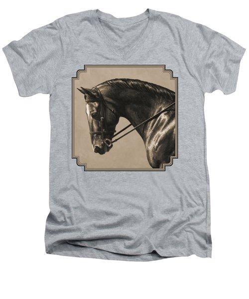 Dark Dressage Horse Aged Photo Fx Men's V-Neck T-Shirt