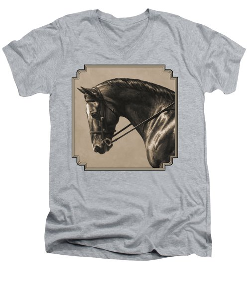 Dark Dressage Horse Aged Photo Fx Men's V-Neck T-Shirt