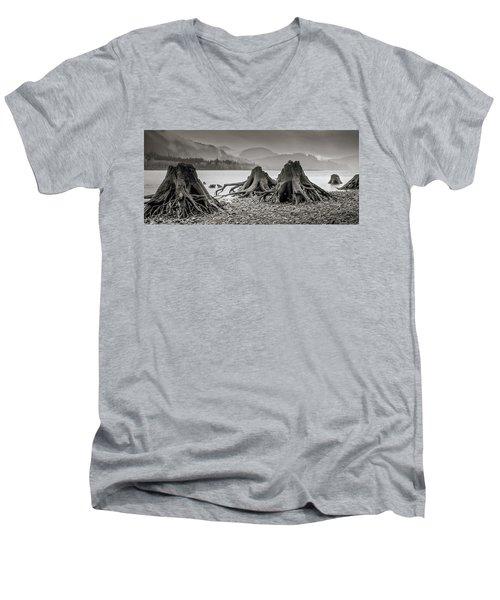 Dark Lake Men's V-Neck T-Shirt by Marius Sipa