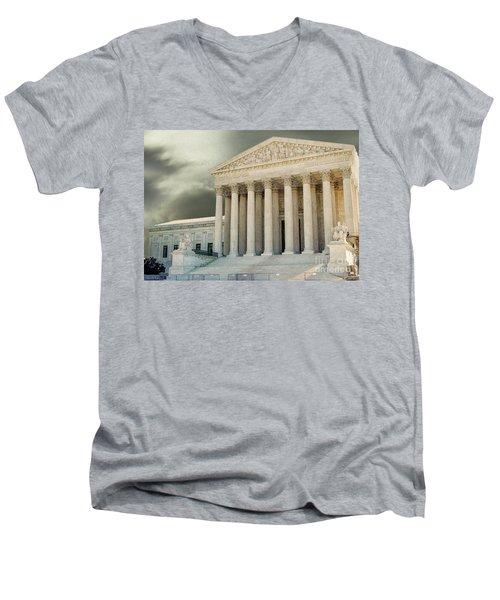 Dark Skies Above Supreme Court Of Justice Men's V-Neck T-Shirt by Patricia Hofmeester