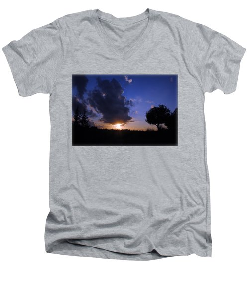 Dark Sunset T-shirt 2 Men's V-Neck T-Shirt by Isam Awad